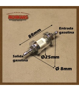 Filtro de gasolina aluminio-cromado cristal 8mm/8mm