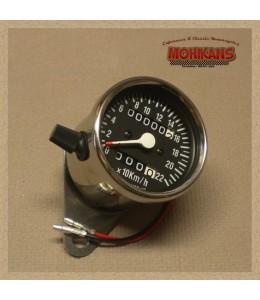 Mini velocímetro mecánico 2:1 cromo-negro