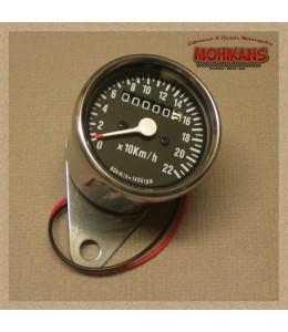 Mini velocímetro mecánico 2:1 cromo-negro sin parcial