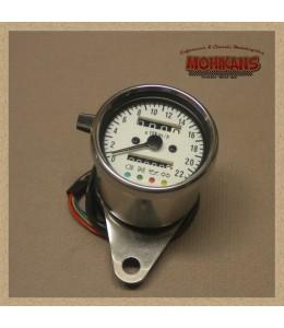 Mini velocímetro multifuncional mecánico 2:1 cromo blanco
