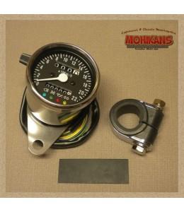 Mini velocímetro multifunción mecánico 2:1 negro